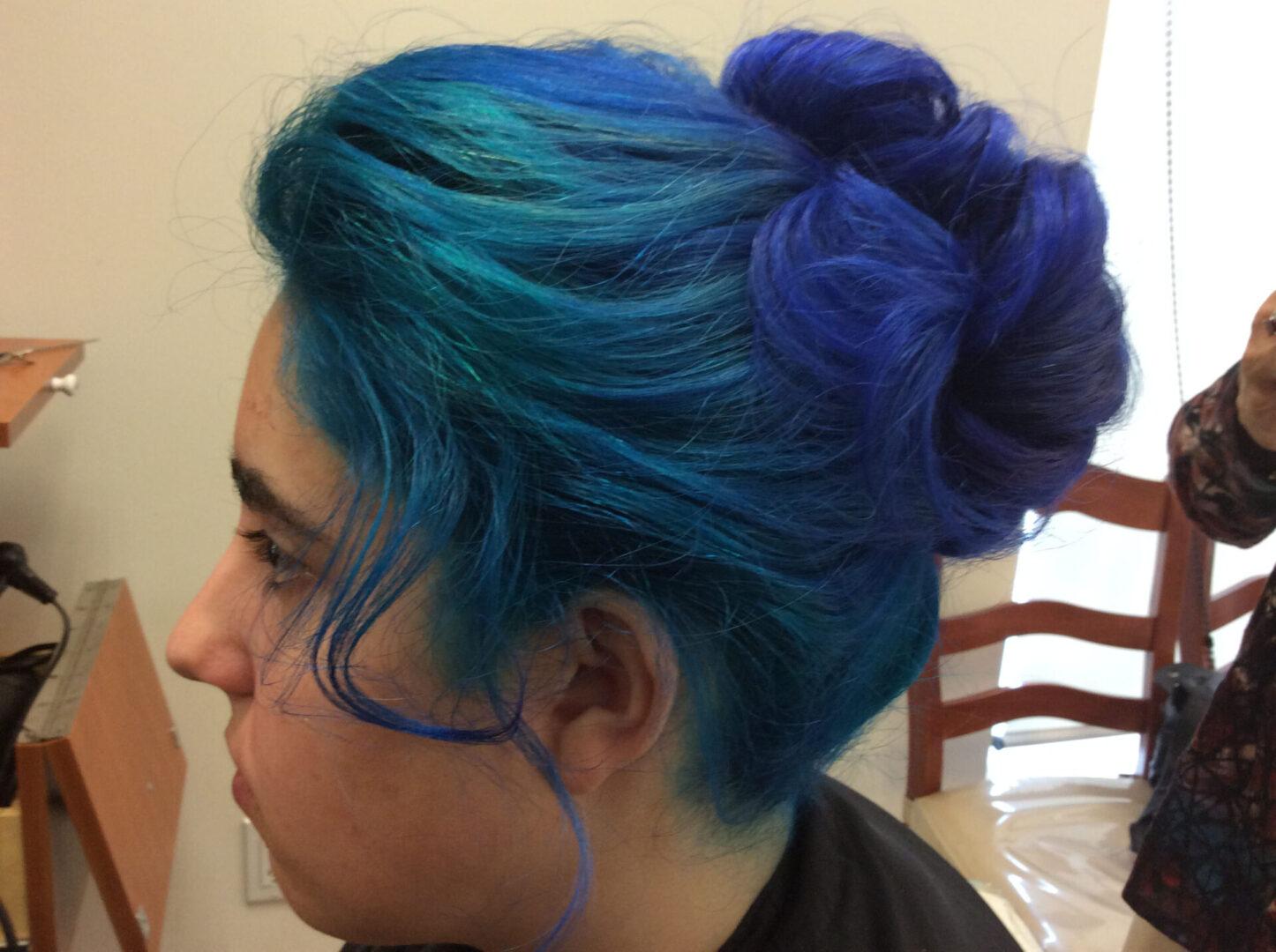 A girl with blue hair